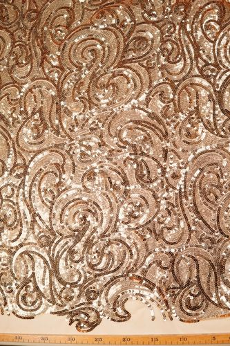 Sequin embroidered tulle fabric gold