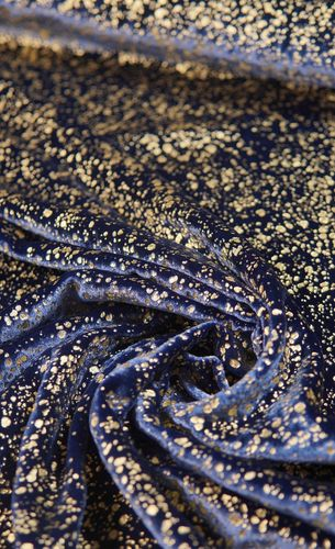 Silk velvet printed dark blue - gold