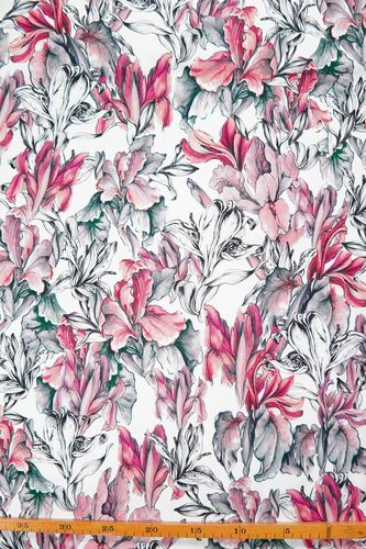 Stretch cotton printed lilies white-coral-fuchsia-grey