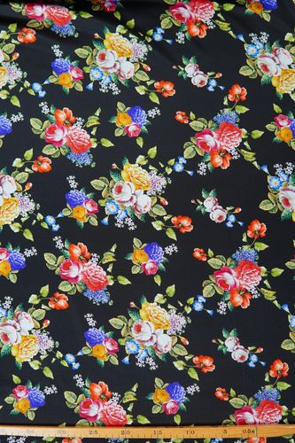 Silk satin printed floral bouquet black