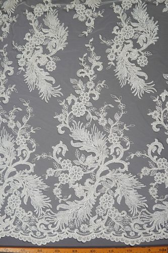 Sequin embroidered tulle fabric ivory