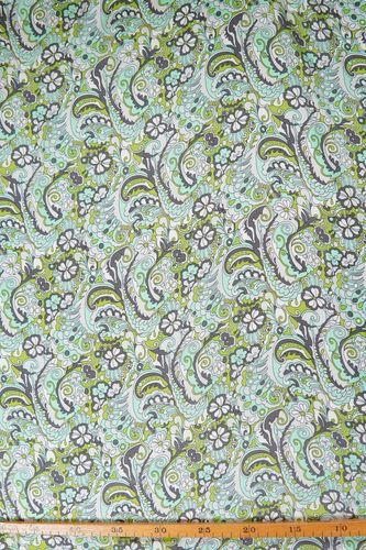 Silk satin printed paisleymint-apple green-grey-white