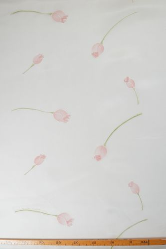 Silk organza hand painted tulip ivory-pink