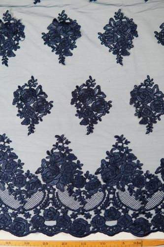 Embroidered tulle dark blue