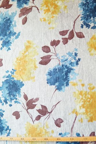 Linen printed hydrangea natural