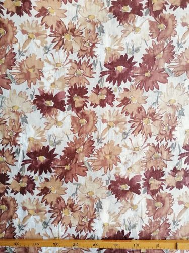 LInen printed paisley flowers brown